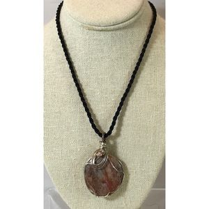 Silver Wire Wrapped Large Agate & Crystal Pendant